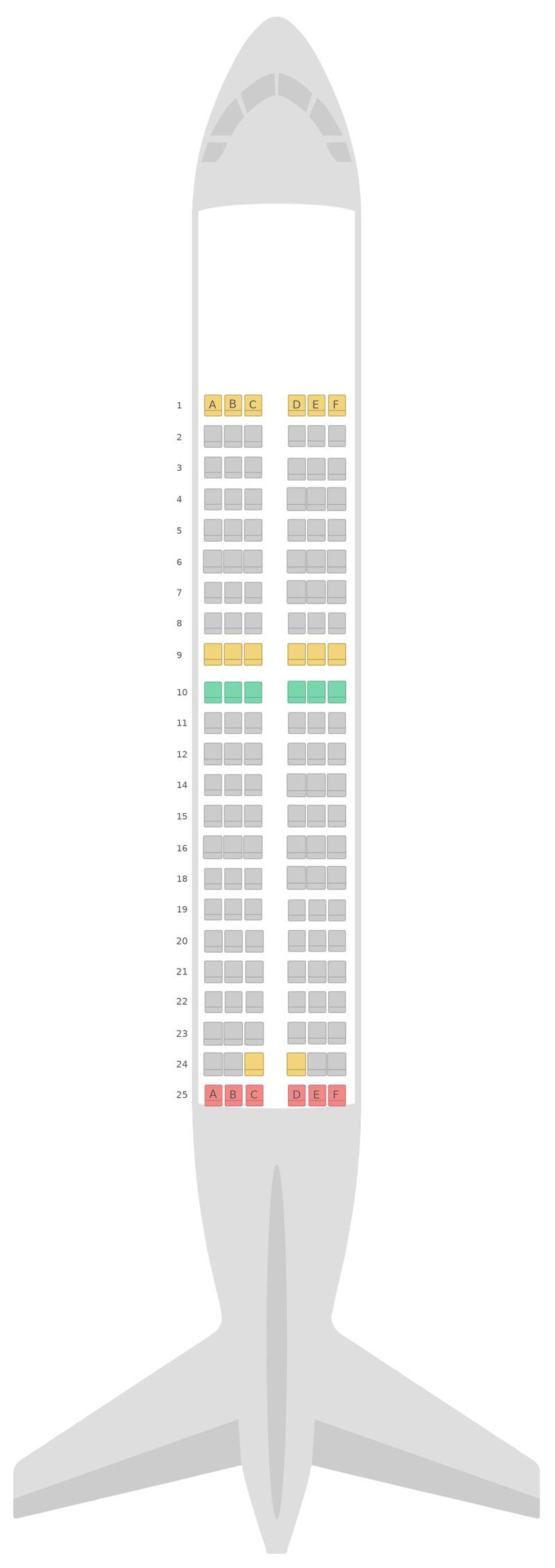 Схема салона Аэробус А319 Алиталия