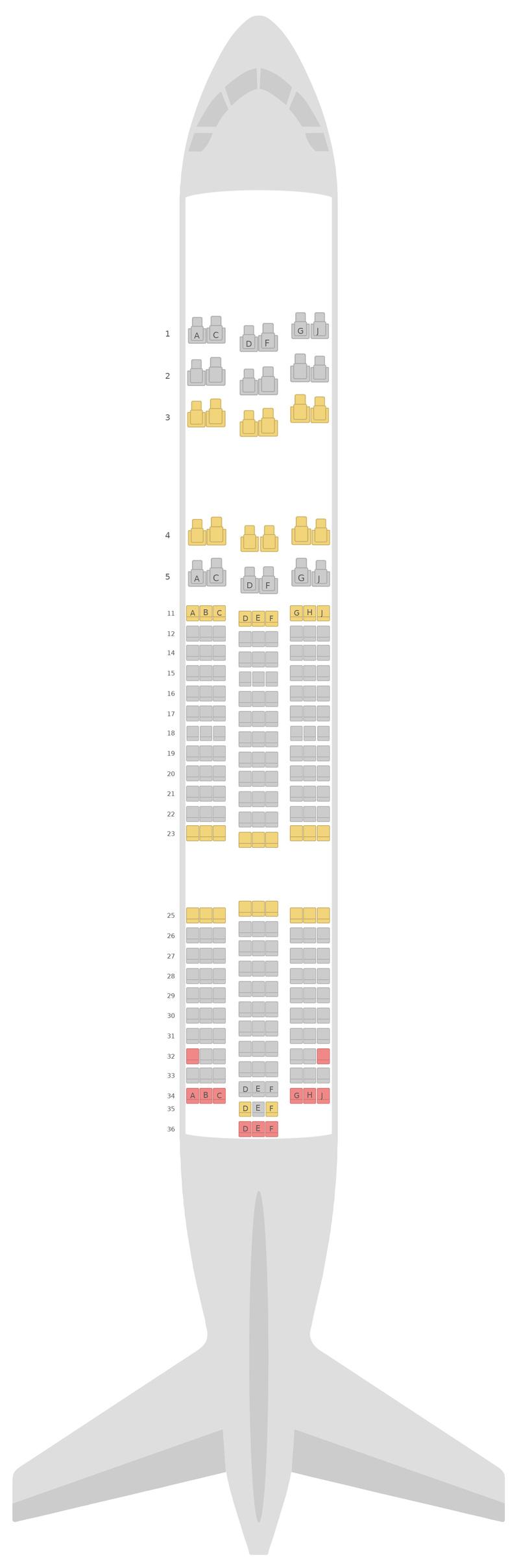 Схема салона Боинг 787-8 (788) Кенийские авиалинии