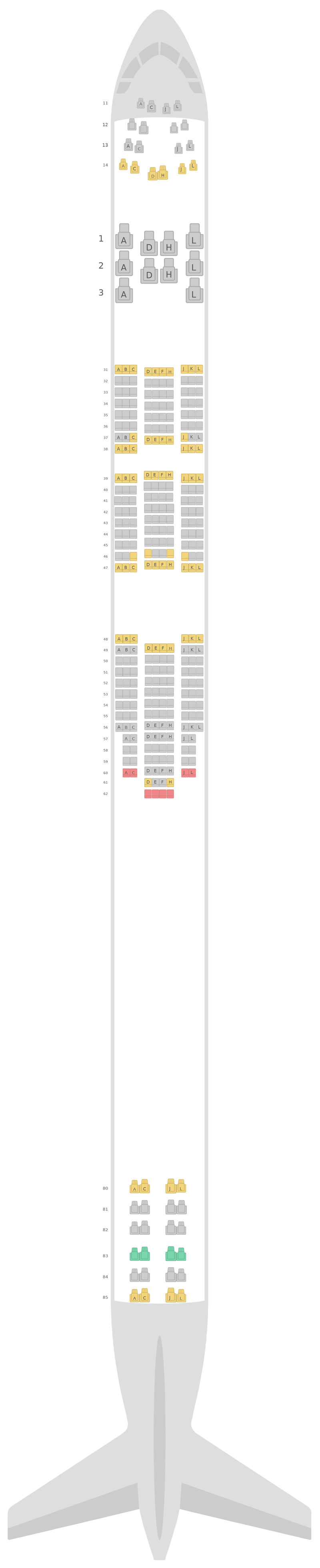Mapa de asientos Boeing 747-400 (744) Air China