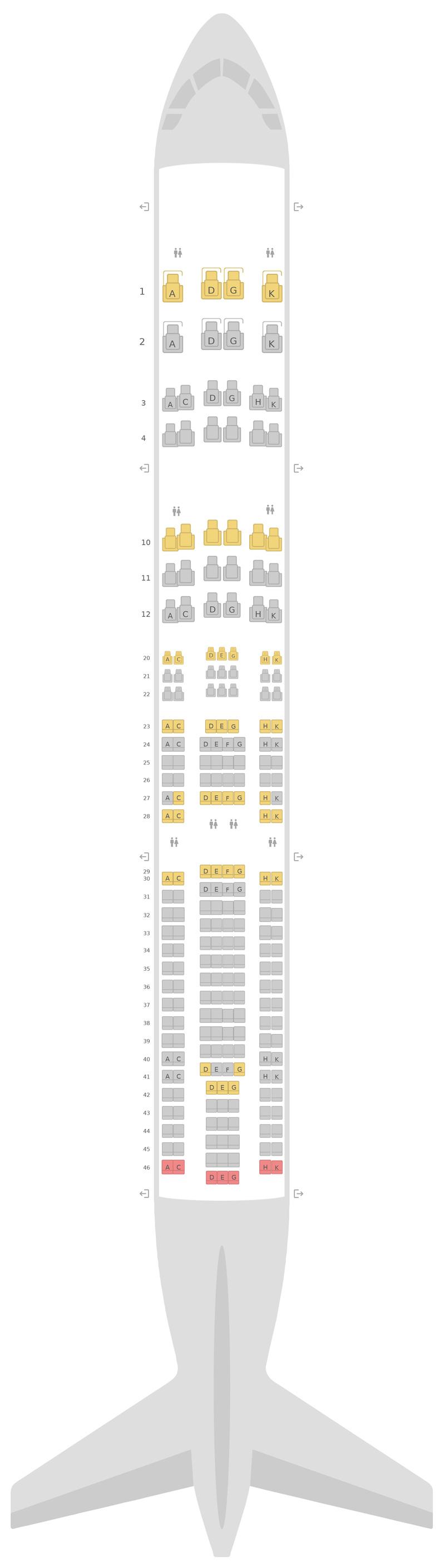 Схема салона Аэробус А330-300 (333) v1 Люфтганза