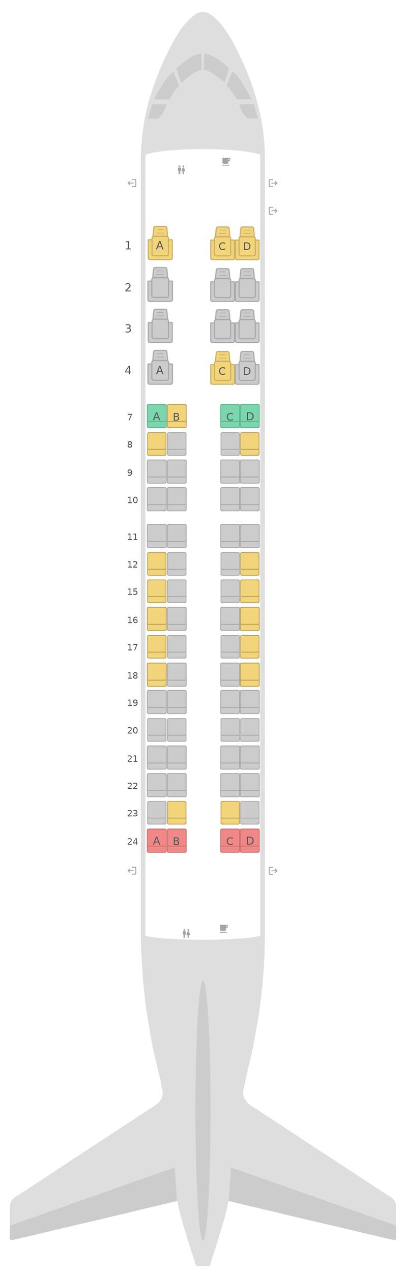 Mapa de asientos Embraer E175 (E75) v1 United