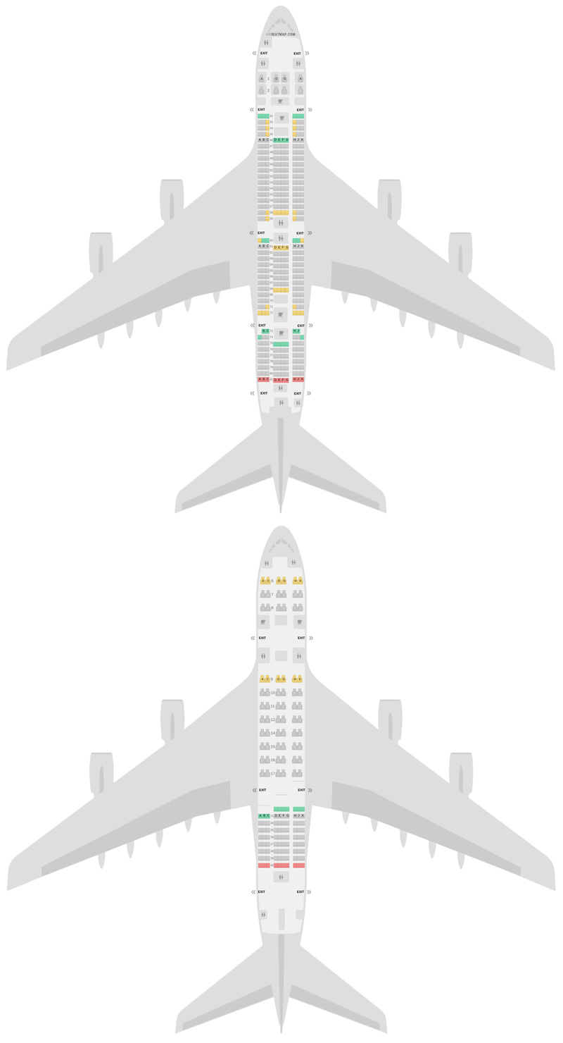 Mapa de asientos Airbus A380-800 (388) Malaysia Airlines