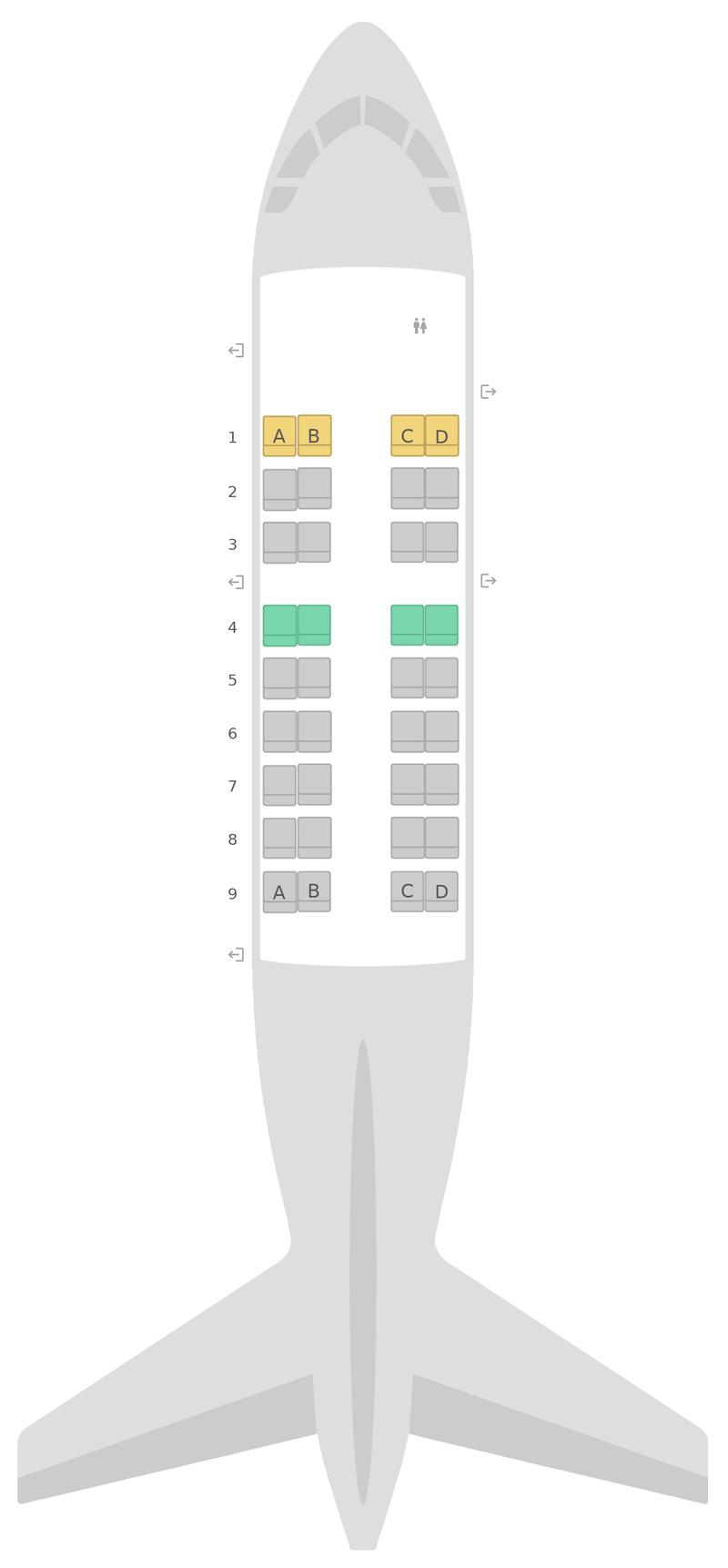 Sitzplan de Havilland Dash 8-200 (DH2) Qantas