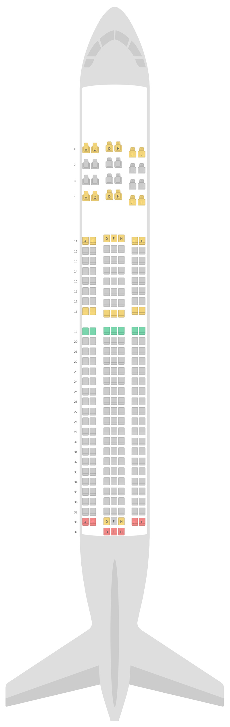 Seat Map Ethiopian Airlines Boeing 767-300ER