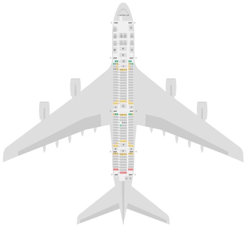 Схема салона Аэробус А380-800 (388) Эйр Франс