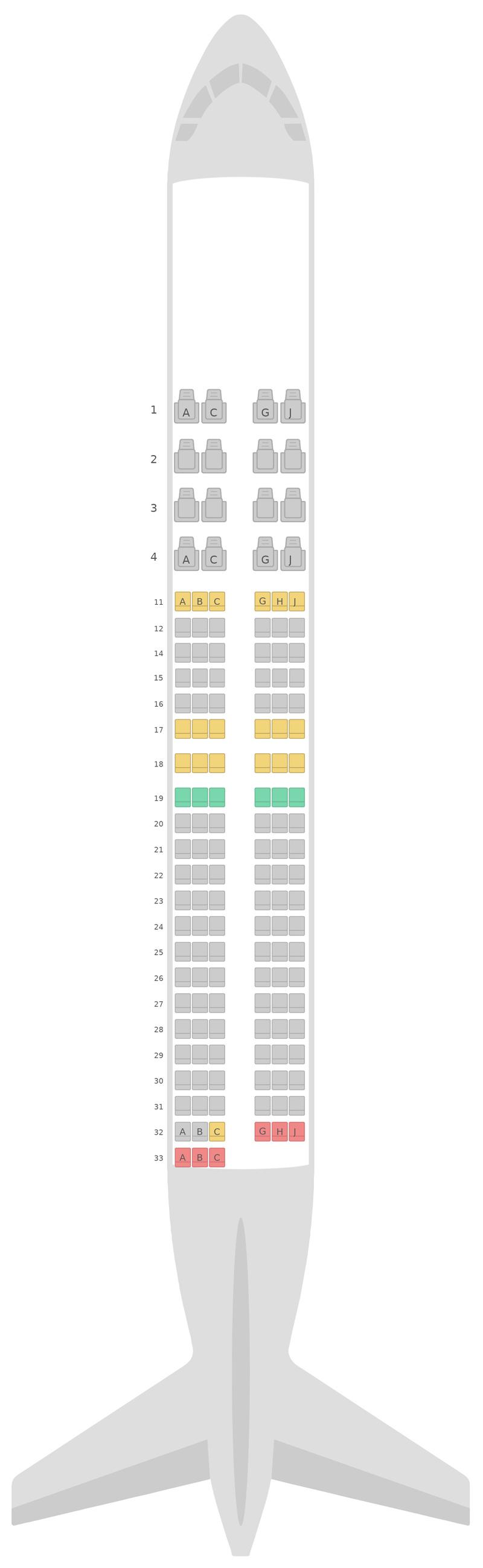 Схема салона Боинг 737-800 (738) Кенийские авиалинии