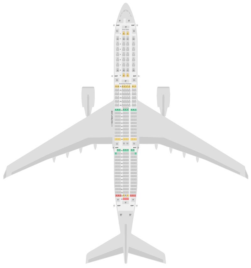 Схема салона Аэробус А350-900 (359) Delta Air Lines