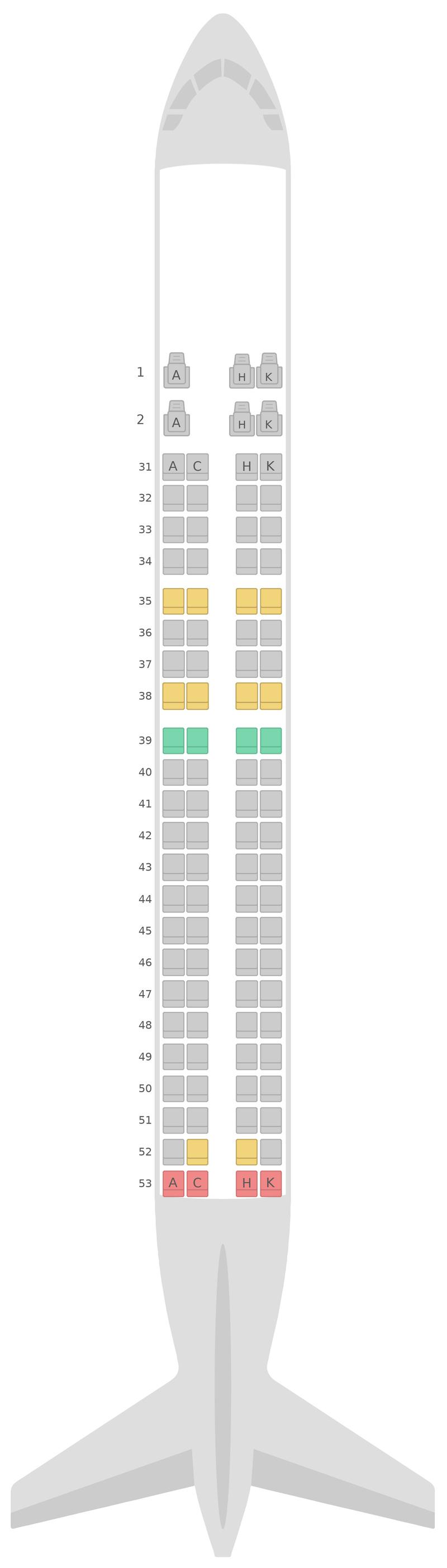 Mapa de asientos Embraer E190 (E90) China Southern Airlines