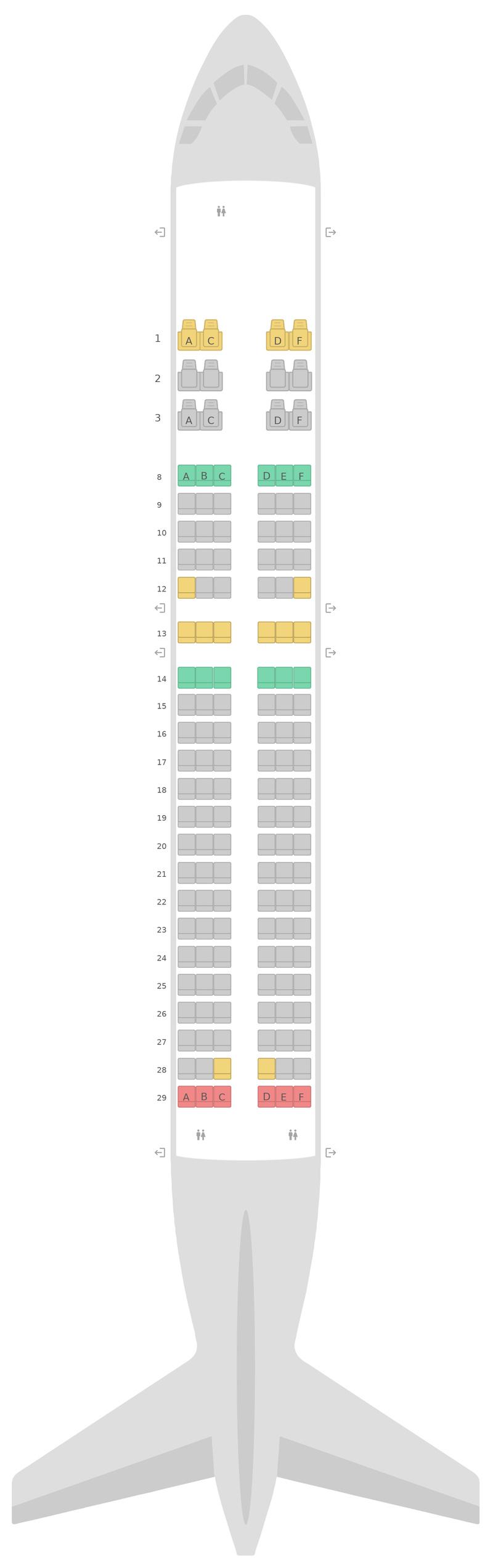 Схема салона Аэробус А320 v2 Катарские Авиалинии