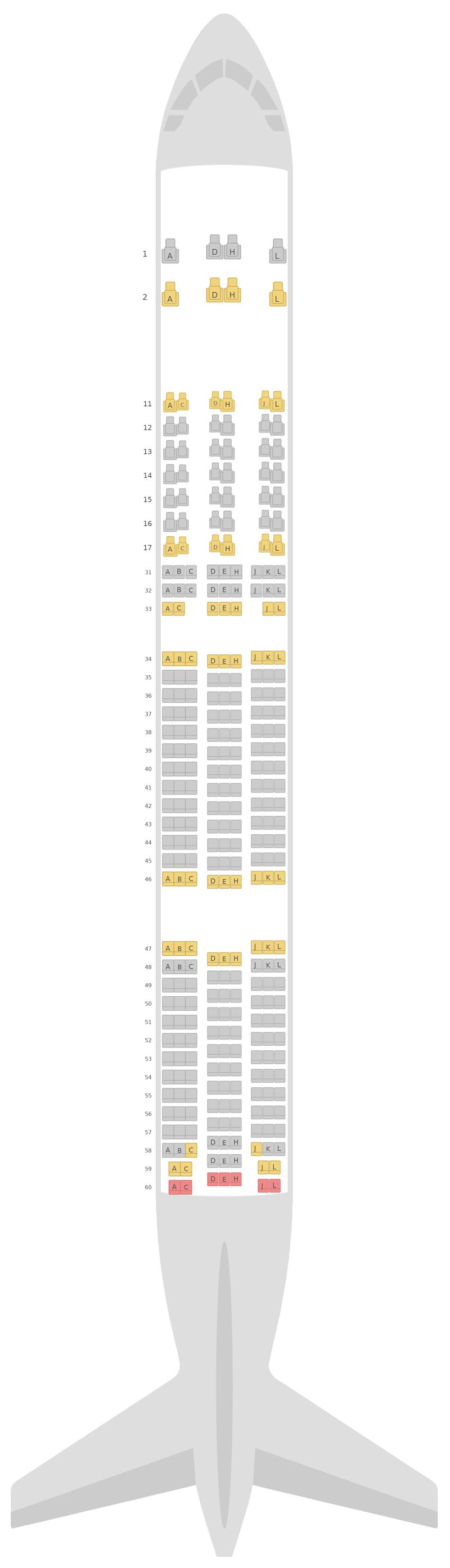 Mapa de asientos Boeing 777-300ER (77W) Air China