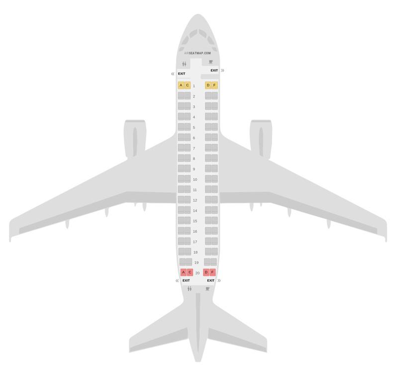 Mapa de asientos Embraer E170 Air France
