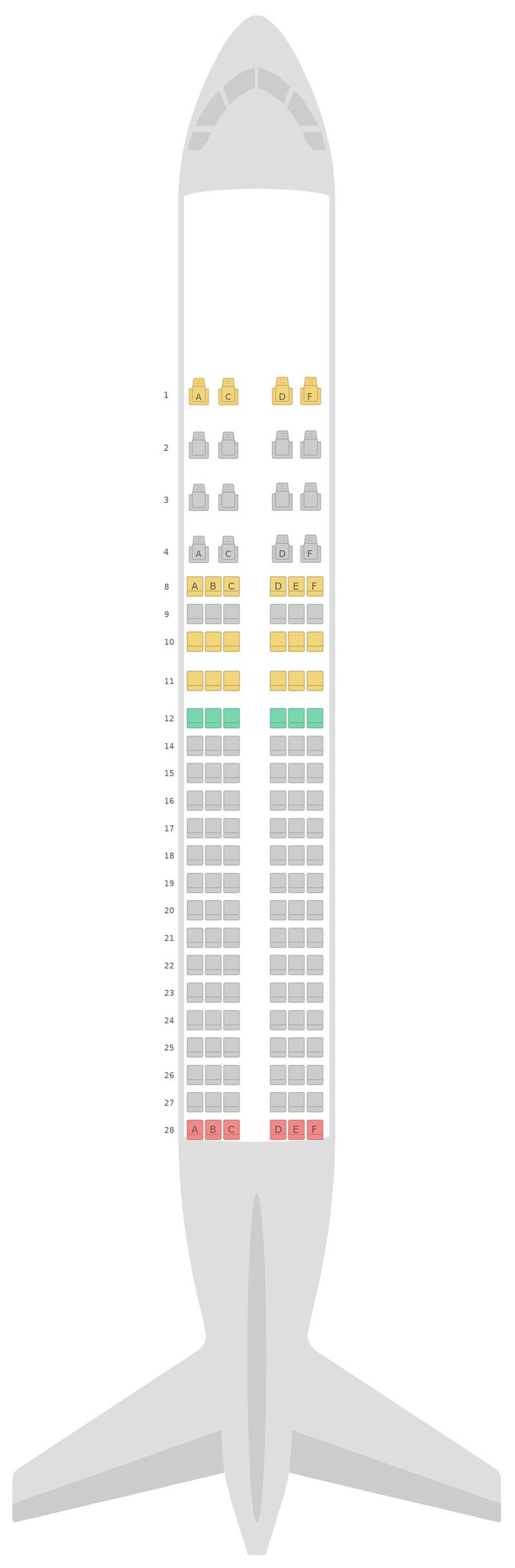 Mapa de asientos Airbus A320 Gulf Air