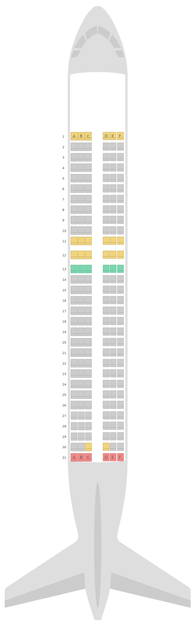 Схема салона Аэробус А320 v2 EasyJet