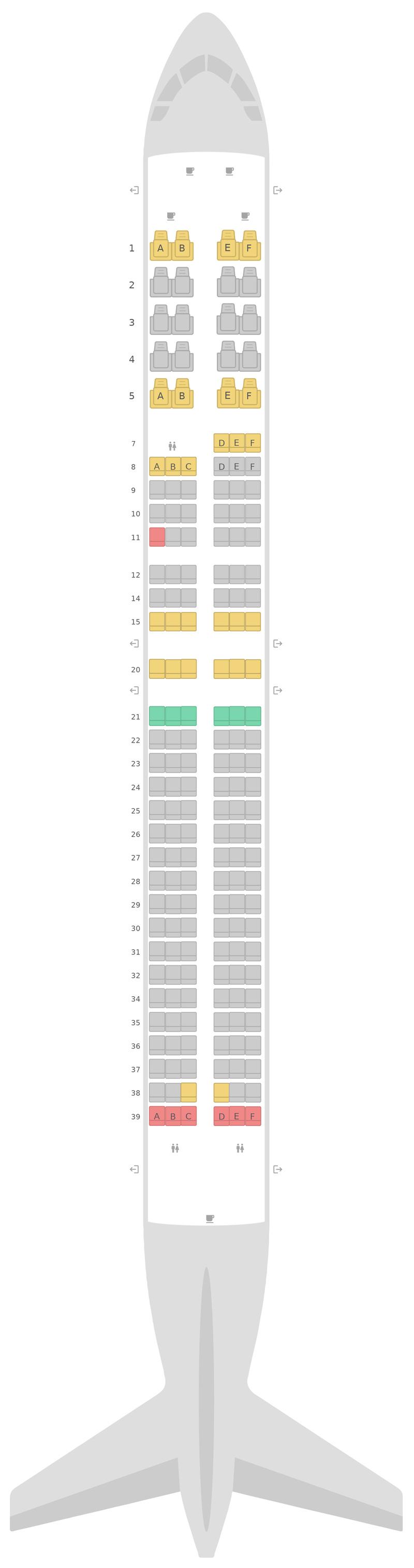 Схема салона Боинг 737-900 (739) v2 United