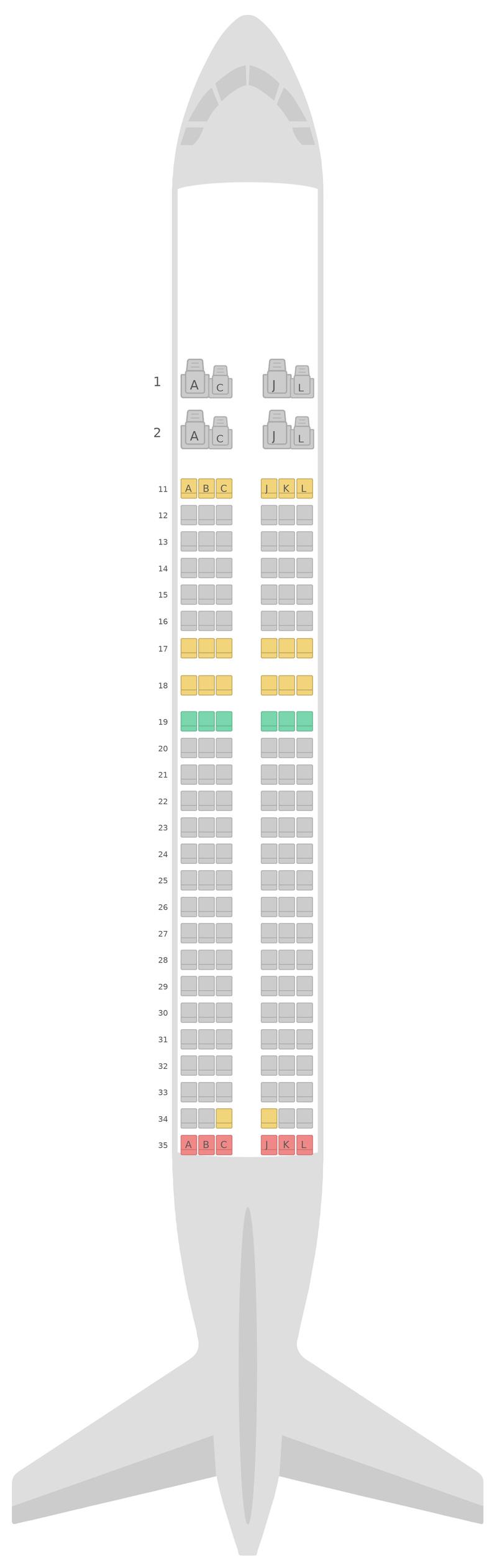Схема салона Аэробус А320 Эйр Чайна