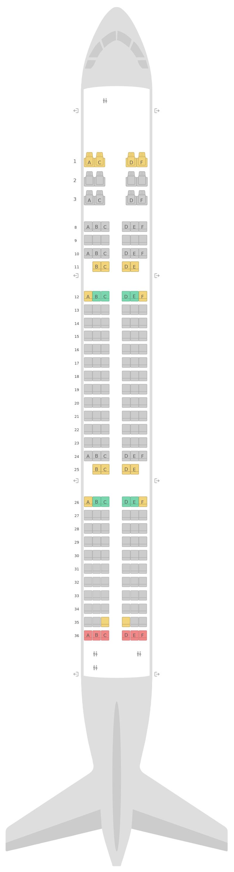 Схема салона Аэробус А321 Катарские Авиалинии