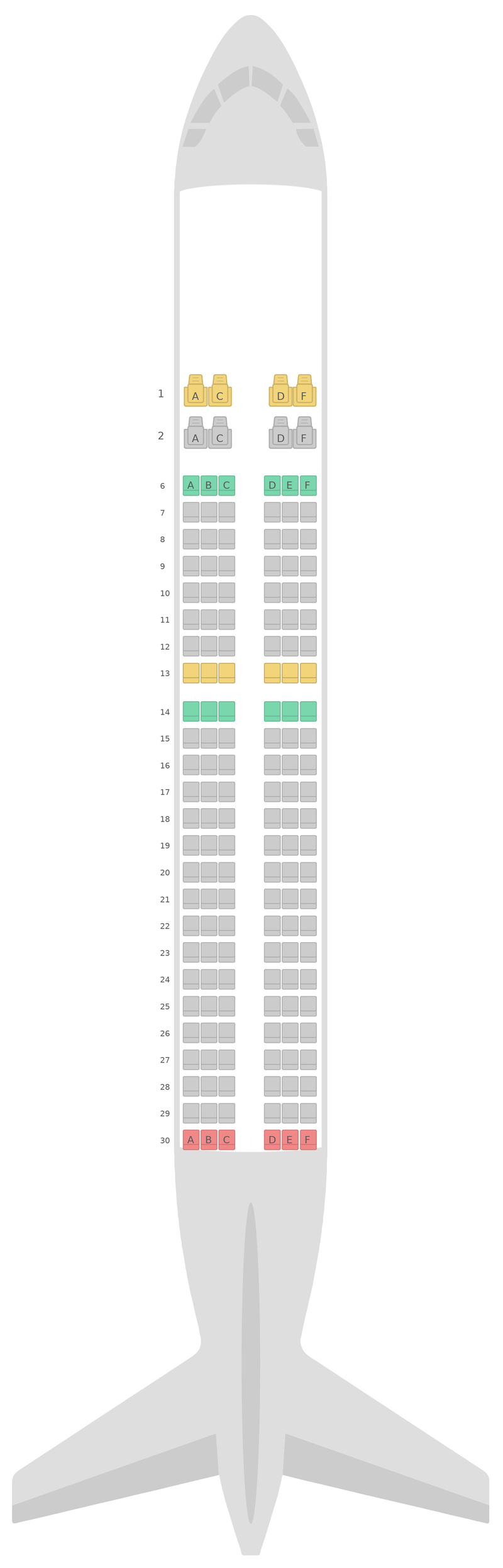 Схема салона Аэробус А320 v2  Аэрофлот