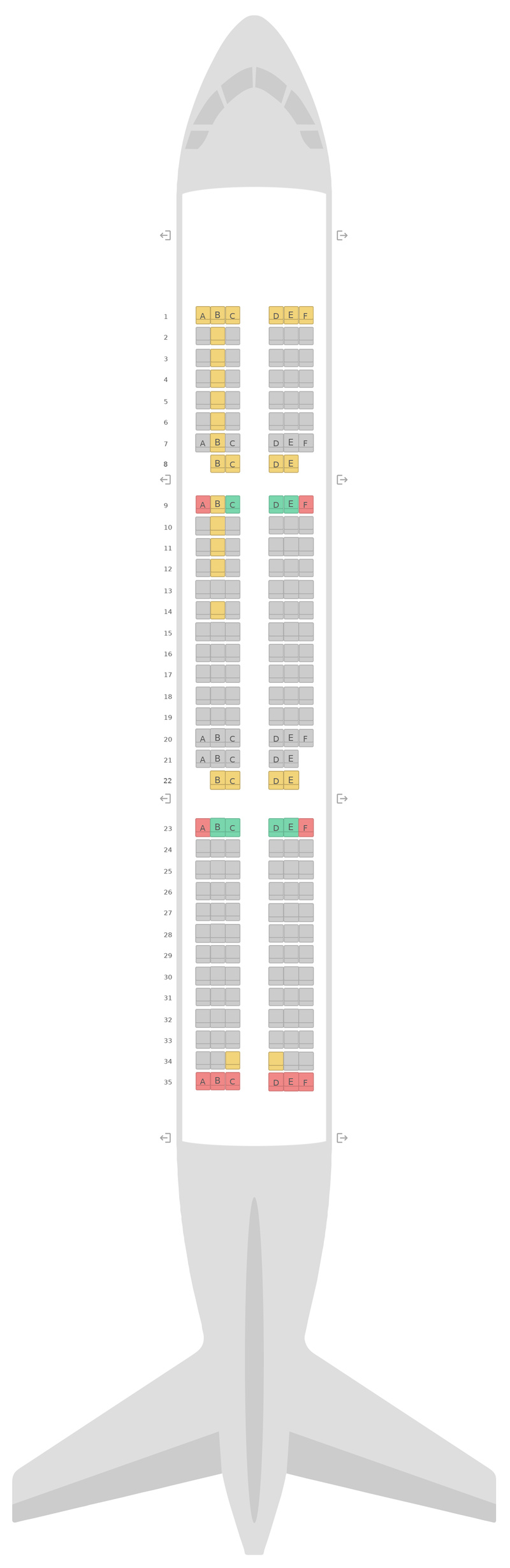 Seat Map British Airways Airbus A321 v3