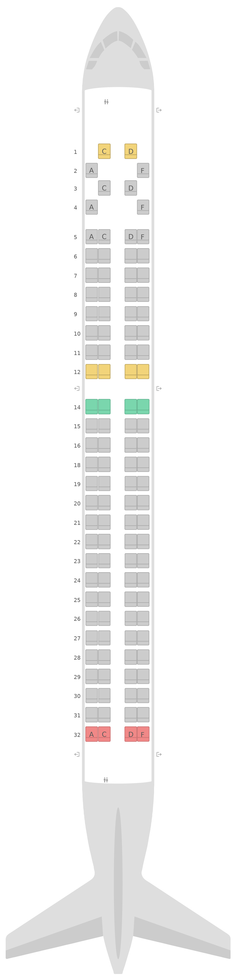 Mapa de asientos Embraer E195 Lufthansa