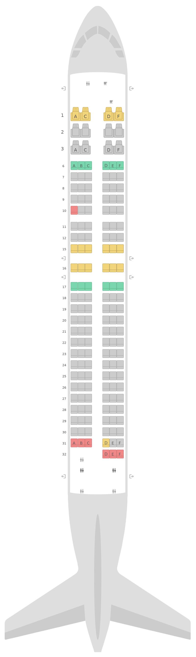 Схема салона Боинг 737-800 (738) Аляска Эйрлайнс