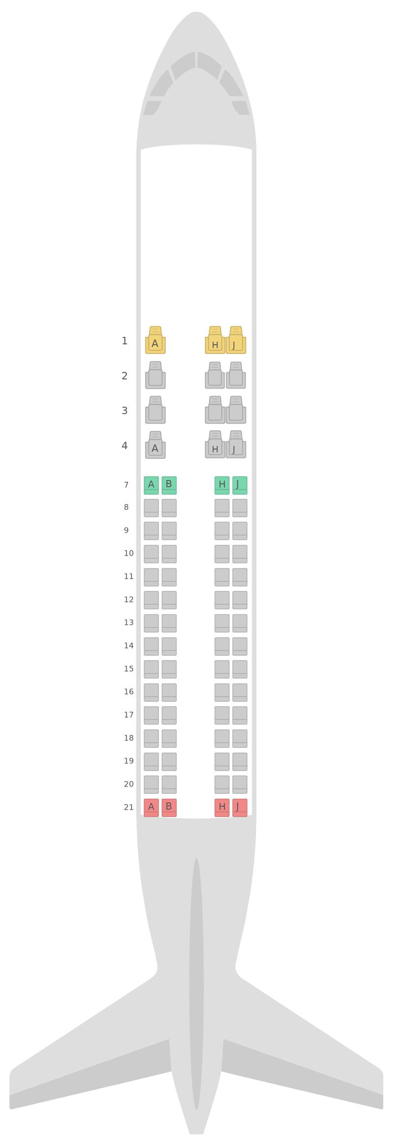 Seat Map Royal Jordanian Airlines Embraer E175 (E75)