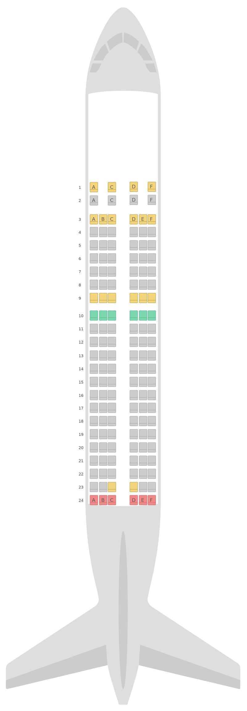 Схема салона Аэробус А319 Португальские авиалинии