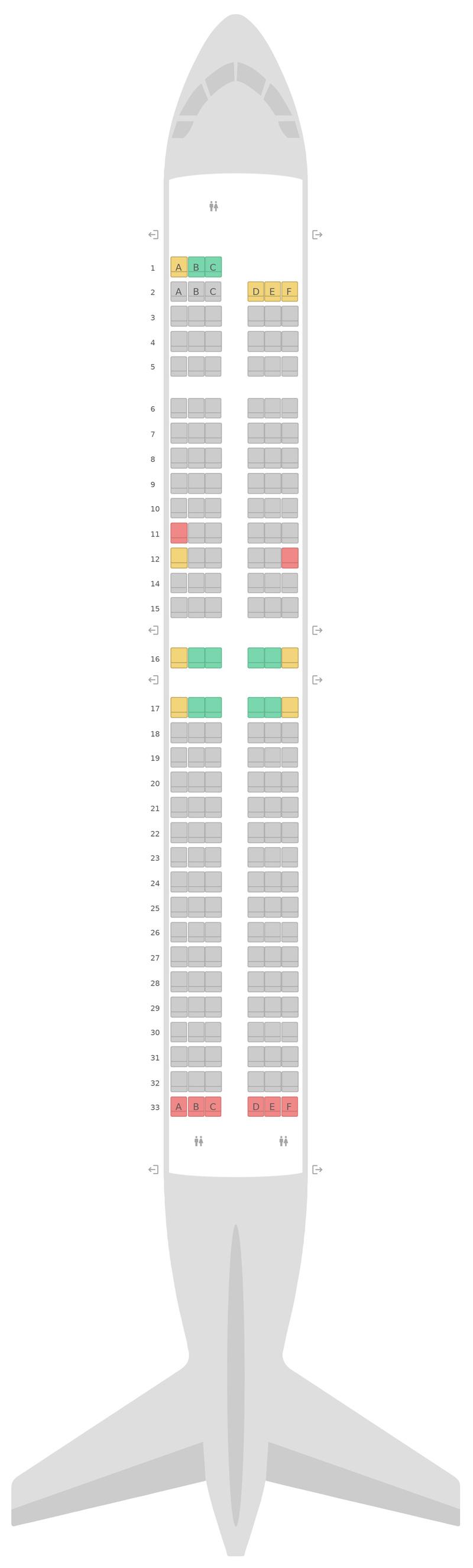 Mapa de asientos Boeing 737-800 (738) Ryanair