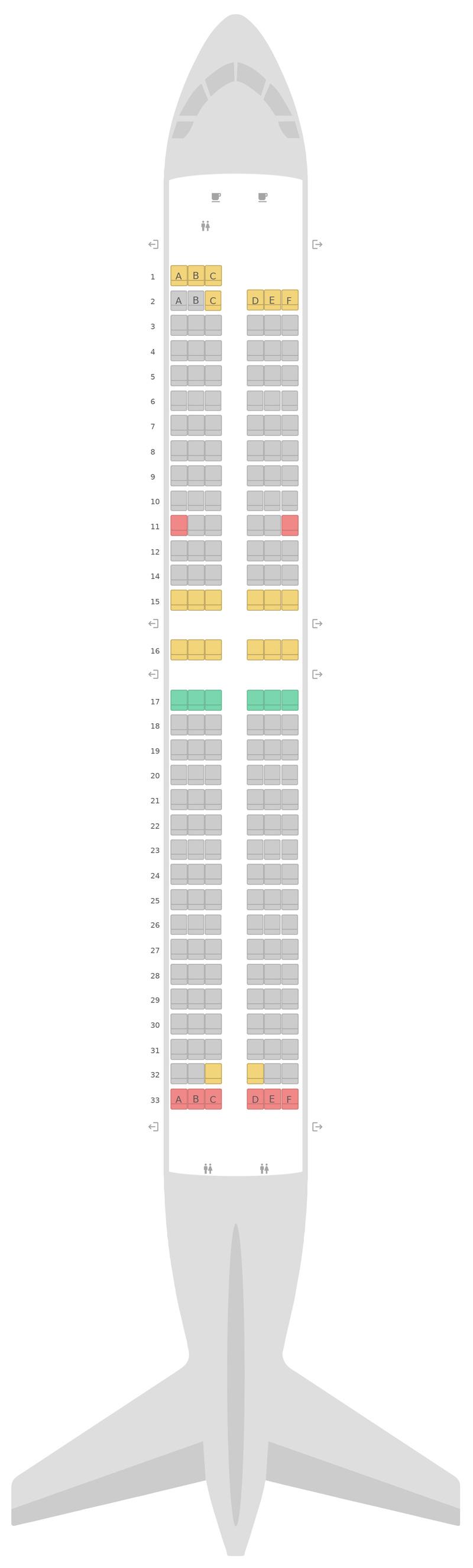 Mapa de asientos Boeing 737-800 (738) Jet2.com