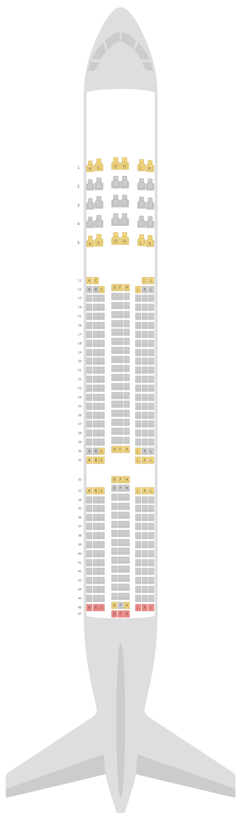 Seat Map Ethiopian Airlines Airbus A350-900 (359)