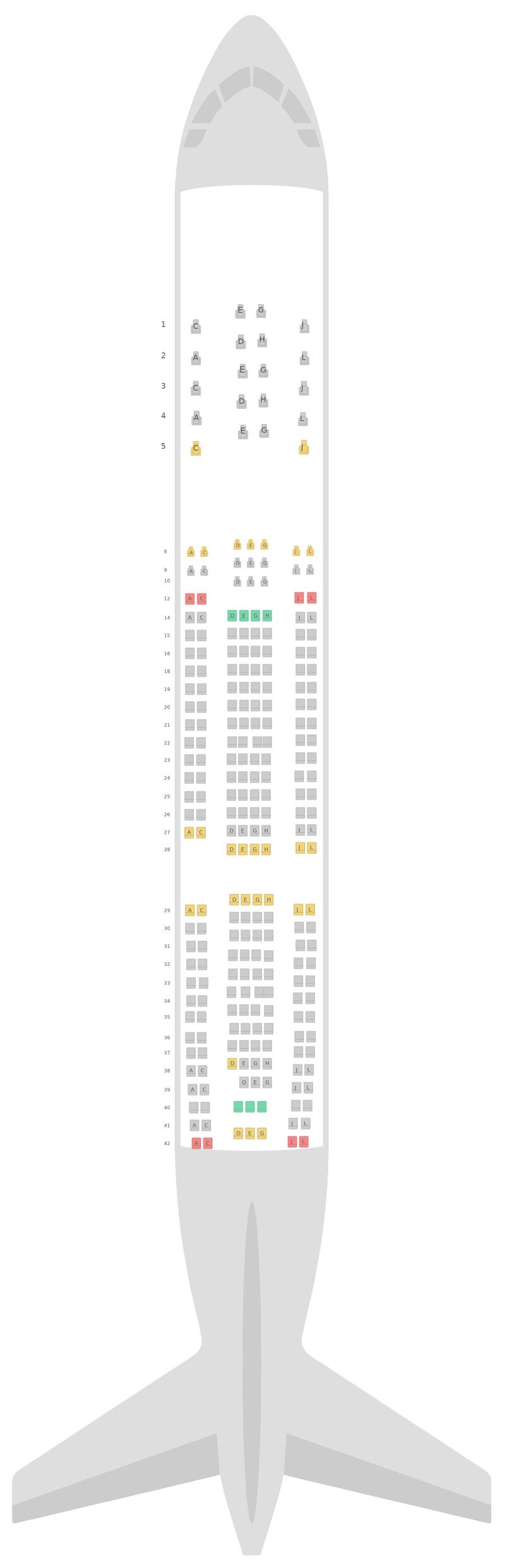Схема салона Аэробус А330-200 (332) 3 Class Алиталия