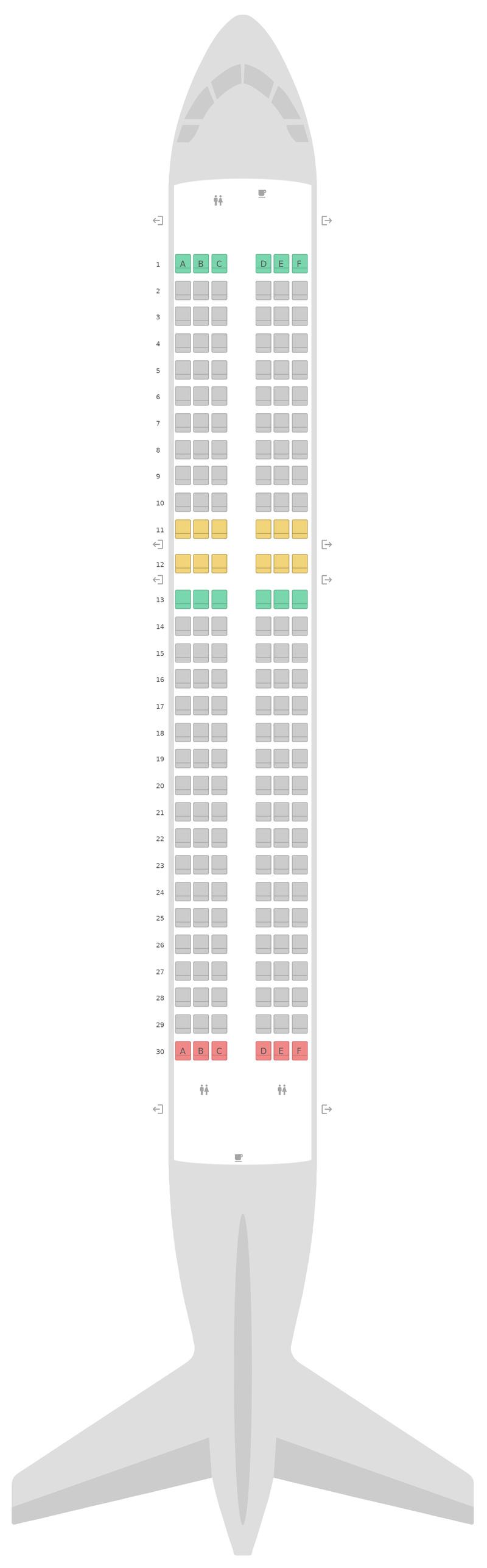 Схема салона Аэробус А320 Scoot