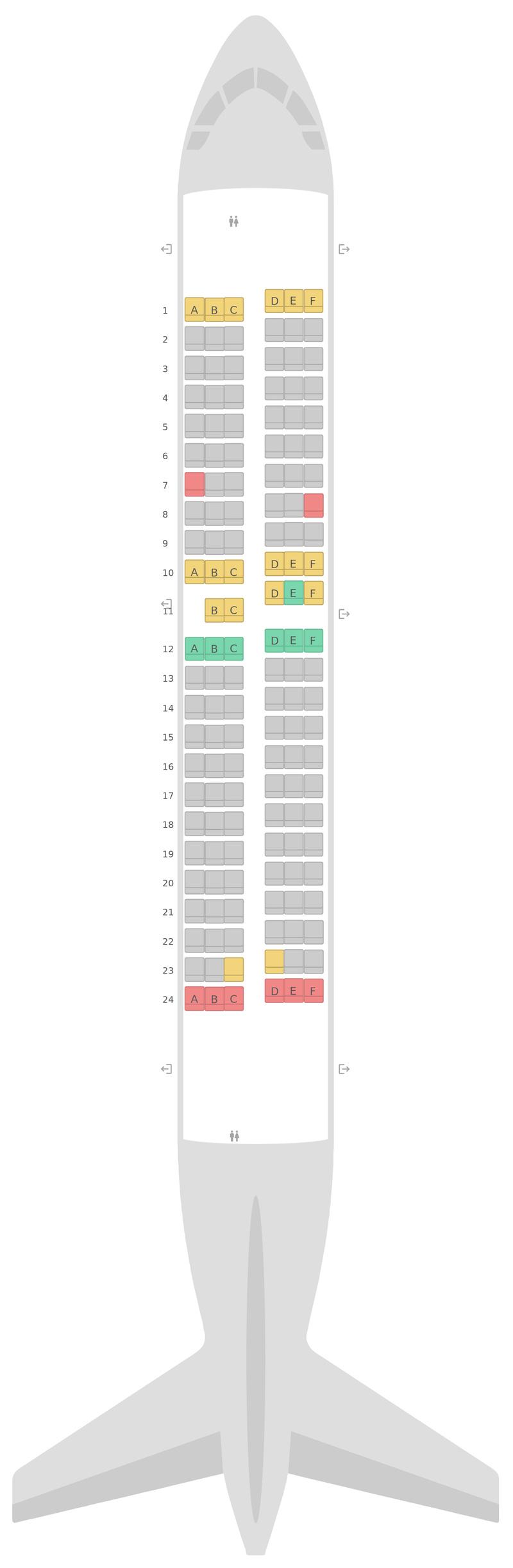 Схема салона Боинг 737-700 Southwest Airlines