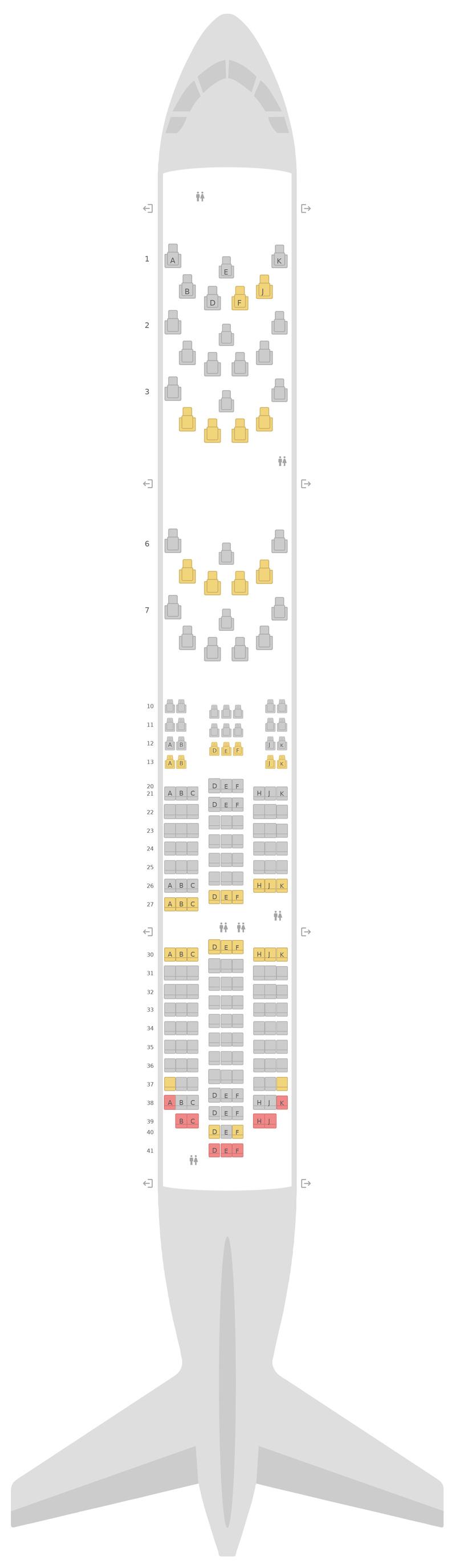 Схема салона Боинг 787-8 (788) Бритиш Эйрвейз