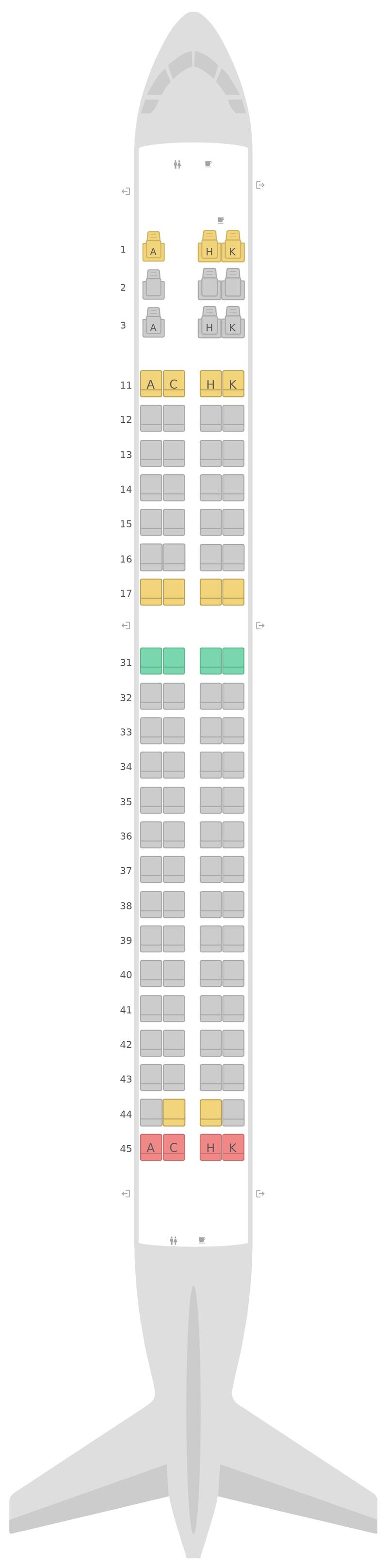 Sitzplan Embraer E190 (E90) Air Astana
