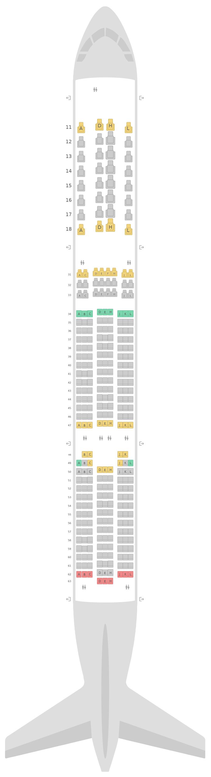 Seat Map Air China Airbus A350-900 (359)