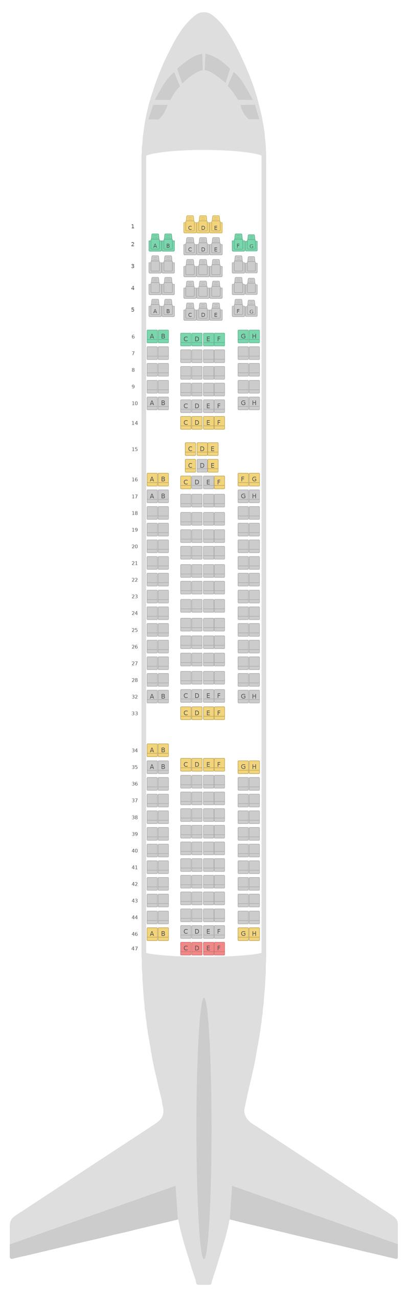 Схема салона Боинг 767-300ER 2 Class TUI Airways