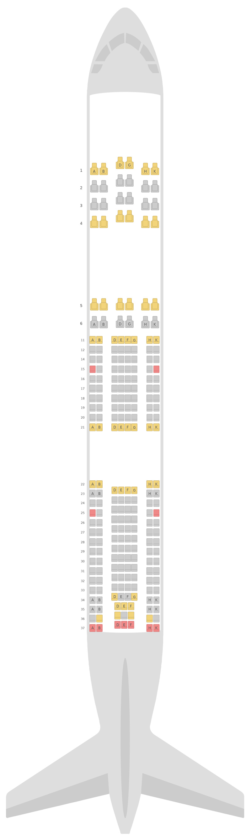 Схема салона Аэробус А340-500 (345) Азербайджанские авиалинии