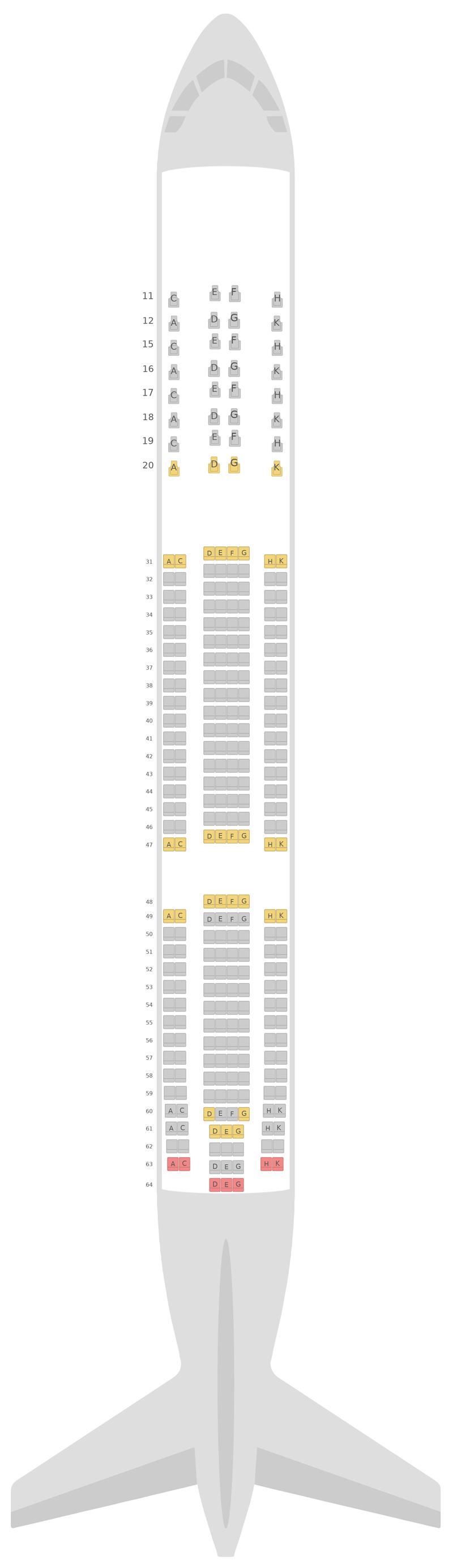 Mapa de asientos Airbus A330-300 (333) Hainan Airlines