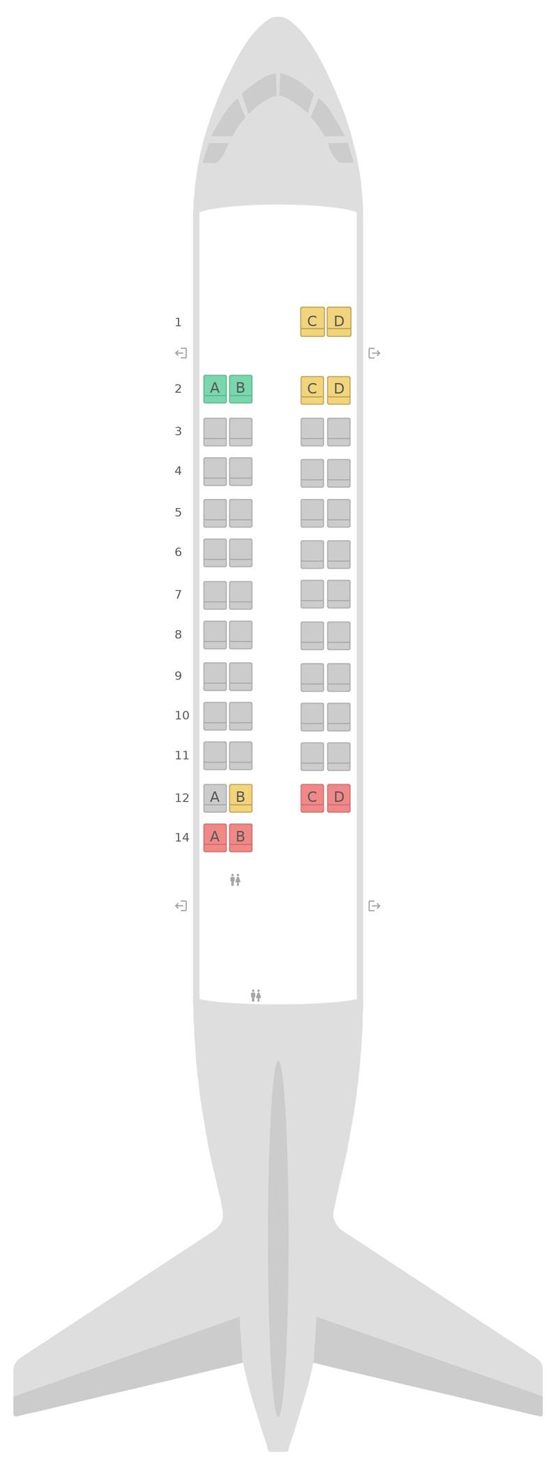 Схема салона АТР 42-600 (AT6) Aegean Airlines