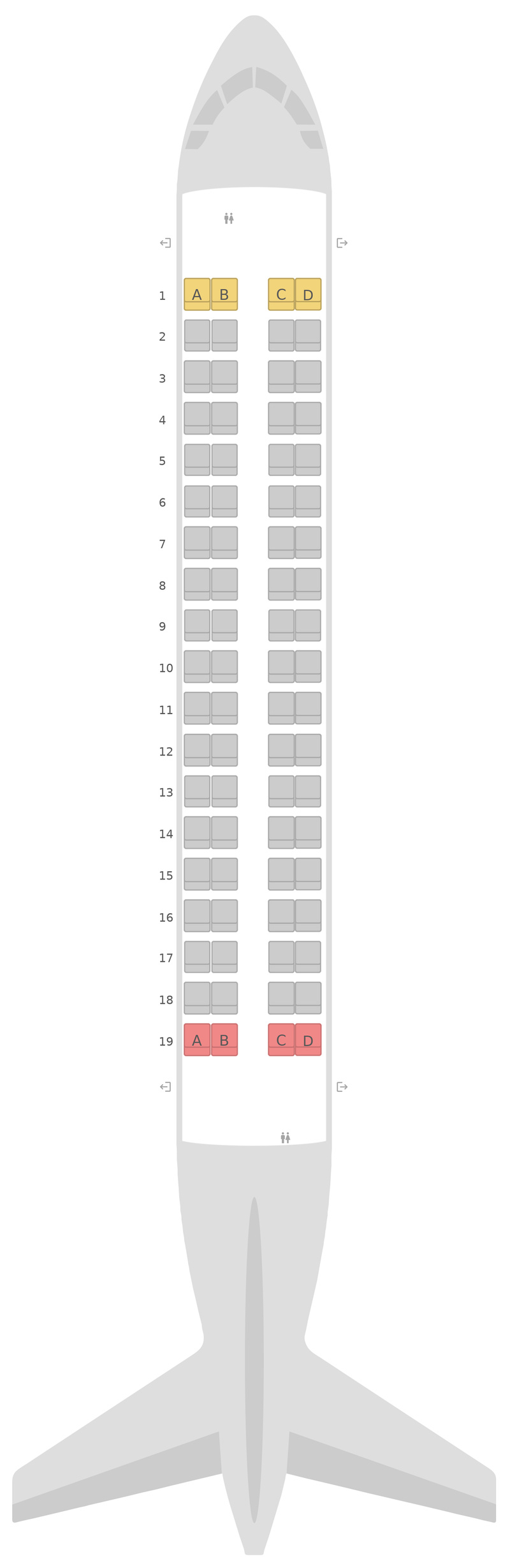 Mapa de asientos Embraer E170 British Airways