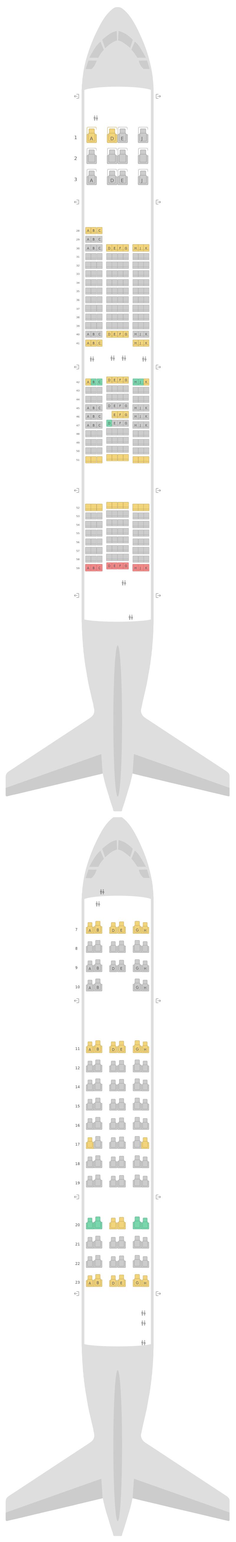 Sitzplan Airbus A380-800 (388) Korean Air
