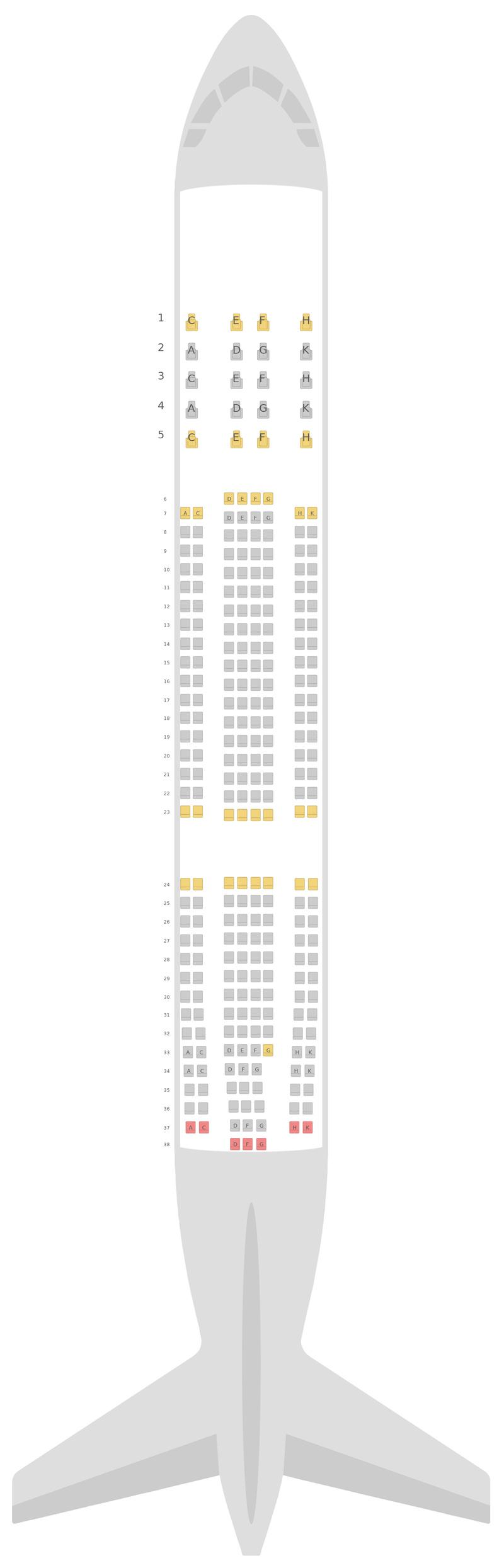 Схема салона Аэробус А330-200 (332) v1 Azul Airlines