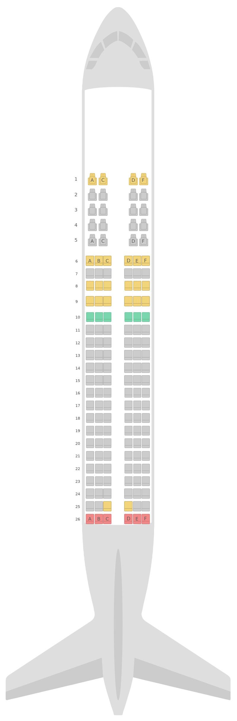 Sitzplan Airbus A320 2 Class Azerbaijan Airlines