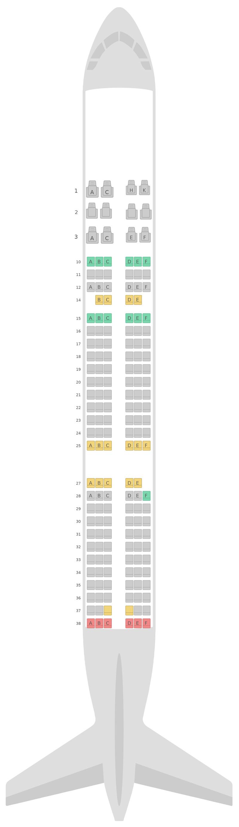 Схема салона Аэробус А321 2 Class v1 Asiana Airlines
