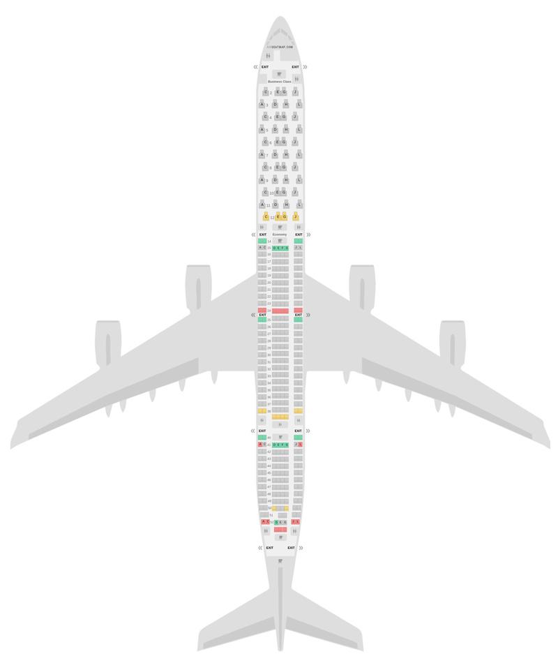 Mapa de asientos Airbus A340-600 (346) v2 Iberia