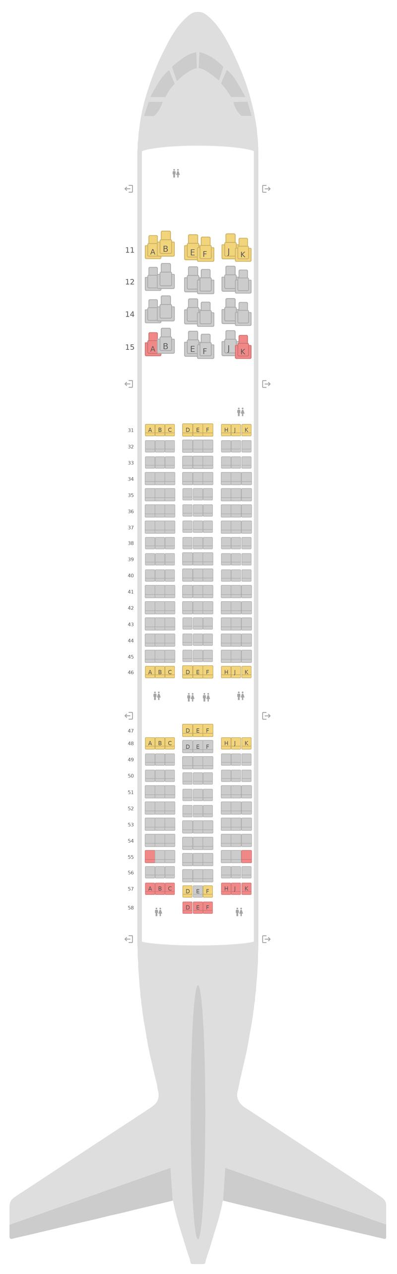 Seat Map Thai Airways Boeing 787-8 (788)