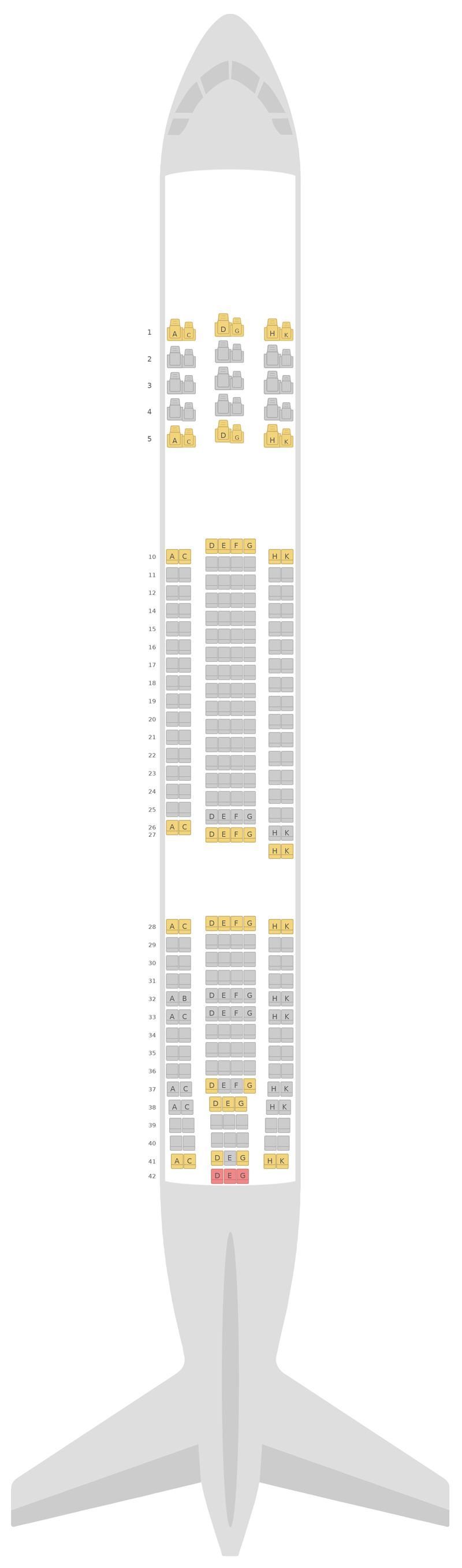 Mapa de asientos Airbus A330-300 (333) v1 Asiana Airlines