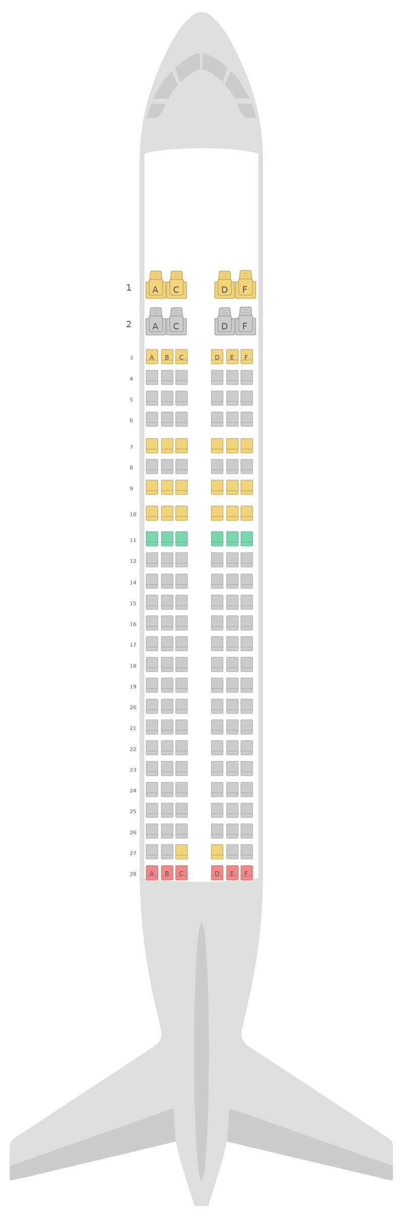 Схема салона Аэробус А320 Vistara