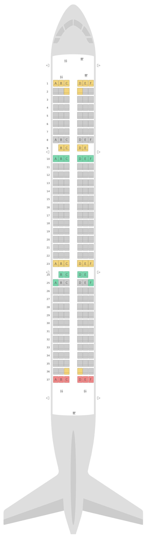 Mapa de asientos Airbus A321 Jet2.com