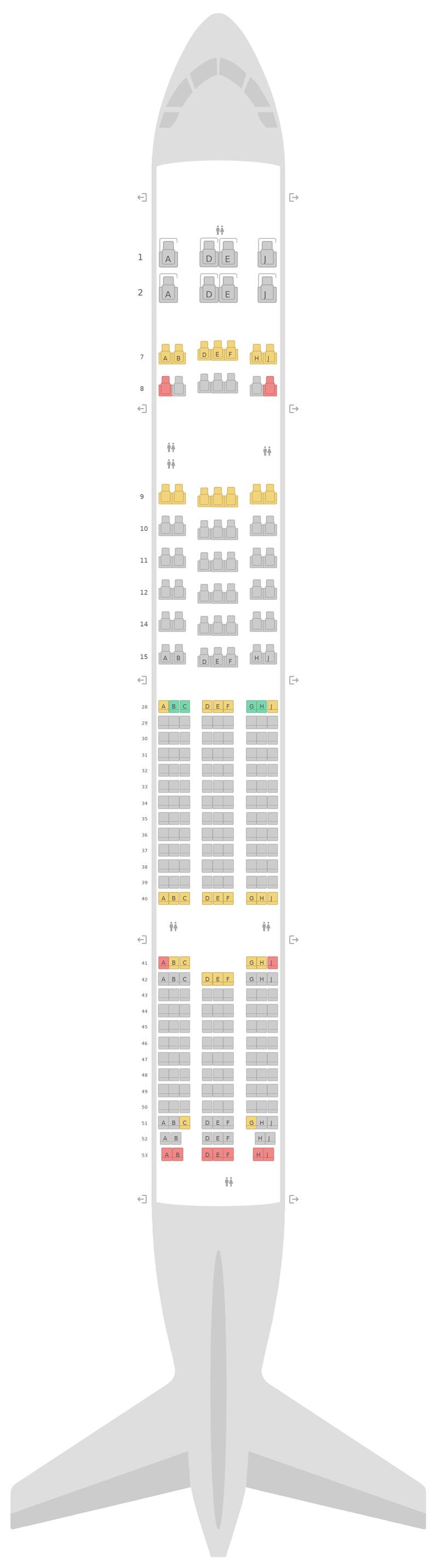 Seat Map Korean Air Boeing 777-300ER (77W) v1